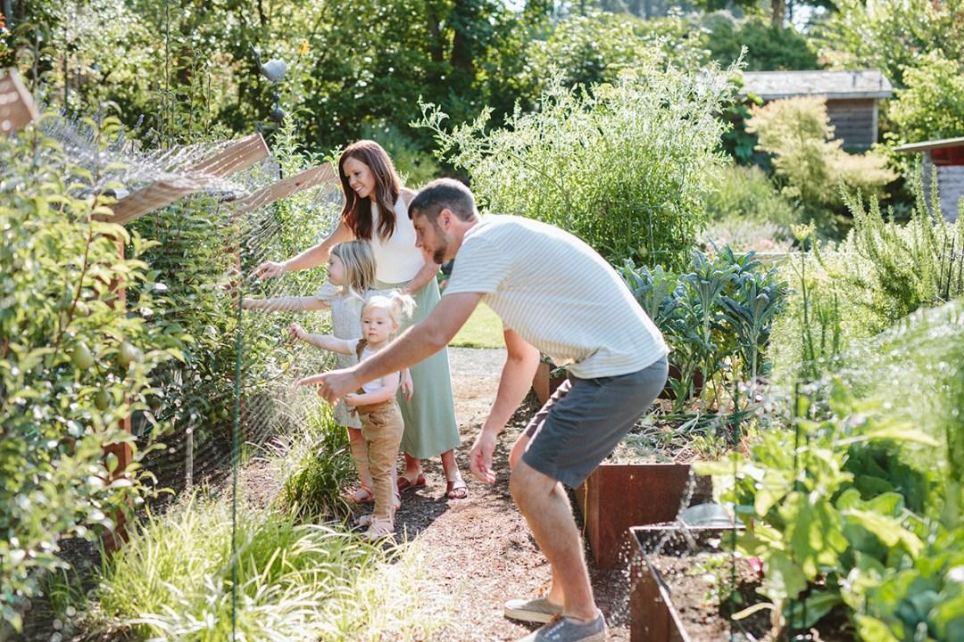 Family in summer garden