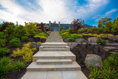 landscaped stone steps leading to luxury home