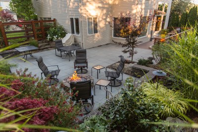 patio for outdoor living in residential landscape