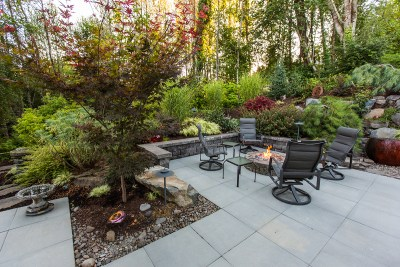 lawn-free landscape with patio and fireplace