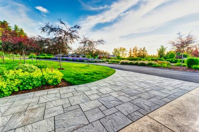 residential landscaping view with pavers