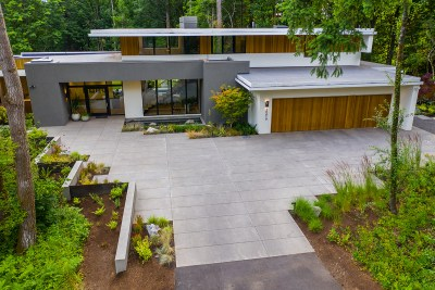 residential landscaping portland home paved driveway