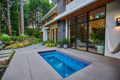 residential landscaping portland home with hot tub