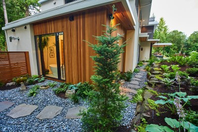 residential landscaping portland home tree and pathway