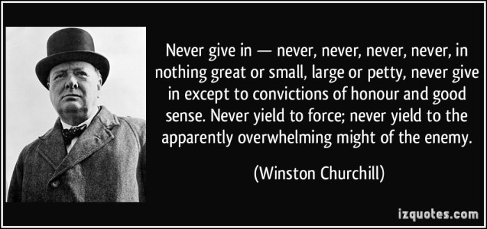 Never give in except to convictions...