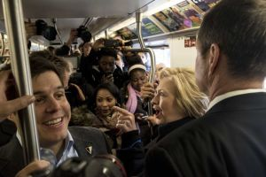 Hillary Rob'em Clinton takes NY subway ride for votes .. stinky!