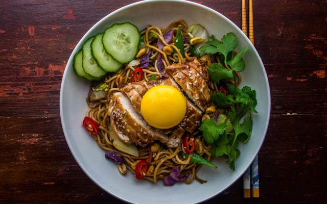 Quick Hoisin Chicken with Ginger Scallion Noodles