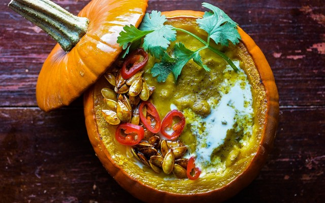 Maple Curry Pumpkin Soup with Candied Pumpkin Seeds