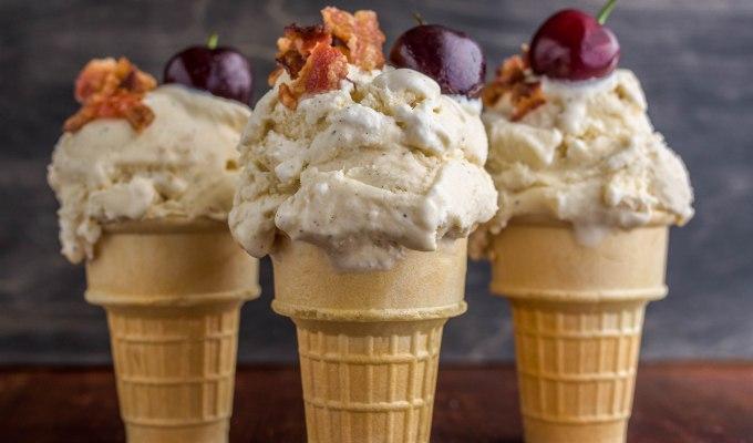 Vanilla Bean Ice Cream with Bacon & Cherries