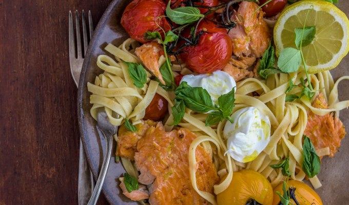 Tagliatelle with Rainbow Trout, Roasted Tomatoes, and Buffalo Mozzarella