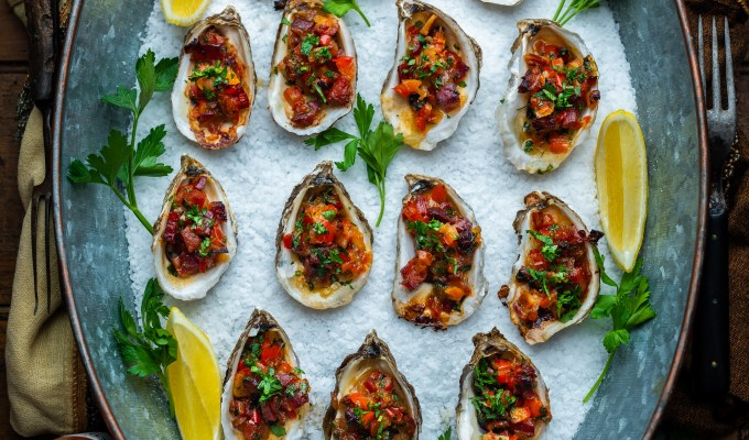Grilled Garlicky Pancetta & Red Pepper Oysters
