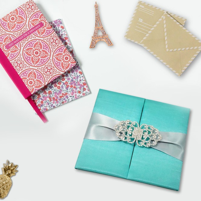 Aqua Blue Silk Folio With Two Doors Featuring Crystal Clasp Silver Ribbon