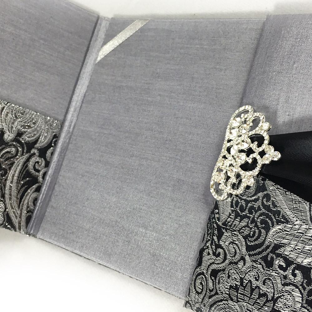 Black Amp Metallic Silver Brocade Wedding Invitation Pocket