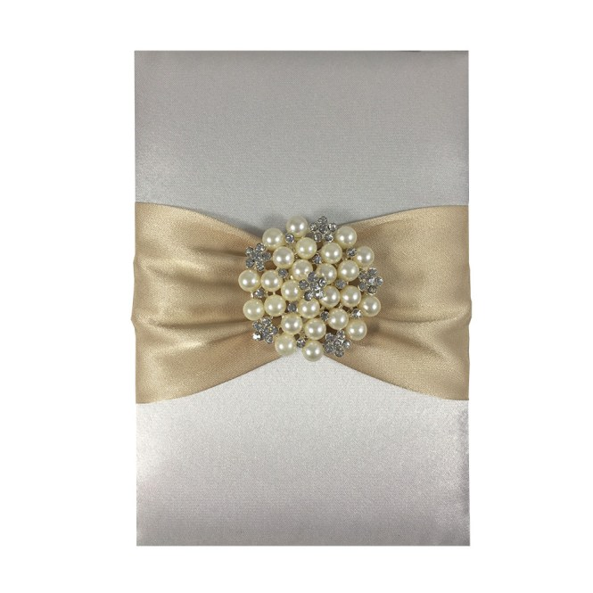 Pearl Brooch Sash Embellished Silk Card For Wedding Invites In Off White With Light Gold