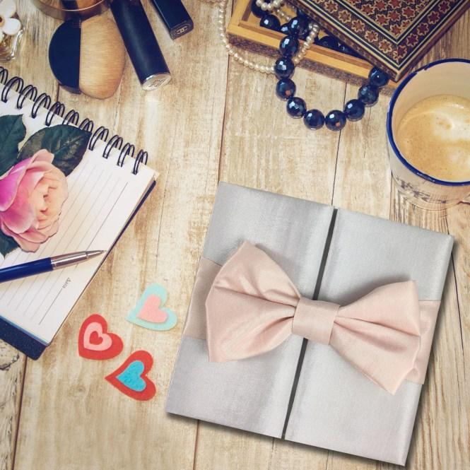 White Blush Bow Wedding Invitation Pocket Folder