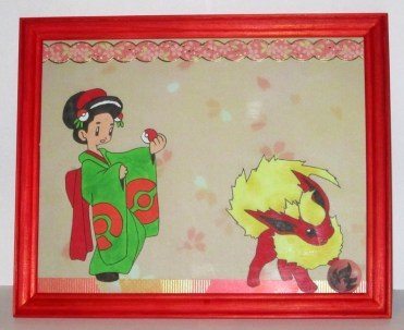 "Framed fan art of Kimono Girl ""Miki""."