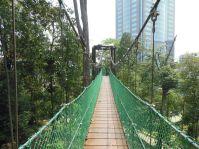 Eine Hängebrücke mitten in der Stadt