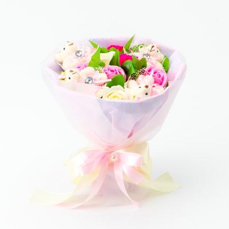ハート電報の「くま束電報 フレグランスローズ・ピンク+キラキラHAPPY BOXプレシャスホワイト」