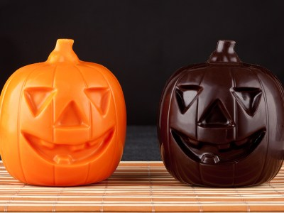 Two Pumpkin chocolate halloween on white background