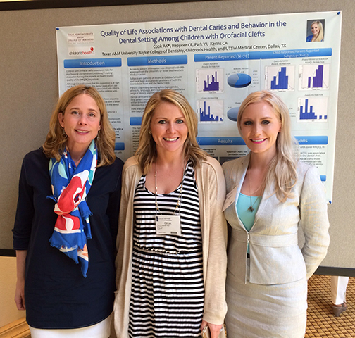 Dr. Angela Cook, right, with research mentors Dr. Carolyn Kerins, left, and Dr. Celia Heppner, center, during the ACPCA annual meeting in Palm Springs, Calif.