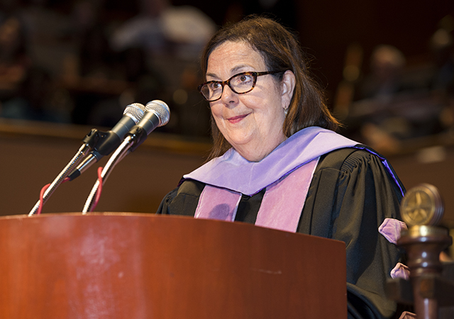 Dr. Maxine Feinberg, president of the American Dental Association, delivers the keynote address during 2015 commencement exercises on May 27.
