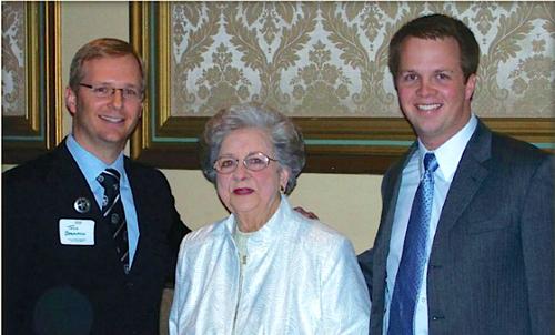 Betty Scott, center, with Dr. Todd Baumann and Dr. Jonathan Oudin