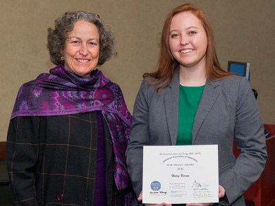 Award winner Haley Barnes, right, with Dr. Lynne Opperman. Not pictured: award winner Daniel Genthe.