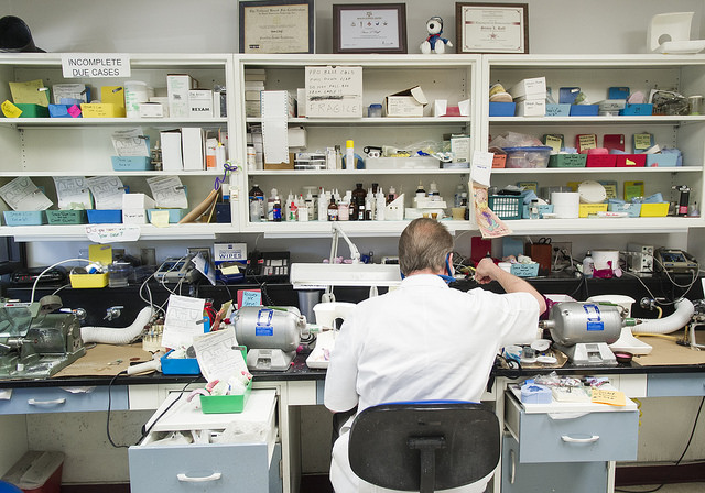 Steve Ruff at his workspace in the college's Center for Maxillofacial Prosthodontics.
