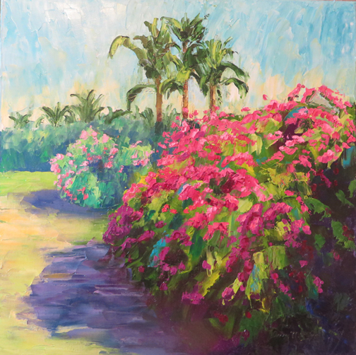 """Bougainvillea,"" photographed while on vacation at Sanibel Island, Florida, and later painted at home in Dallas."