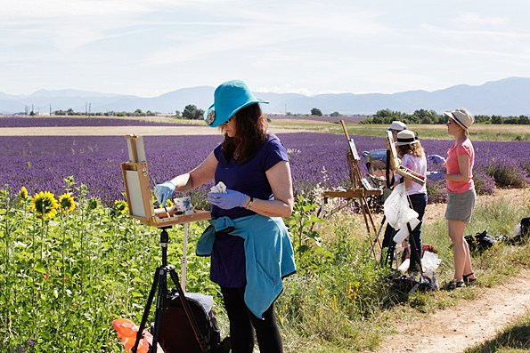 Dr. Ann McCann, left, painting during lavender season in Provence, France
