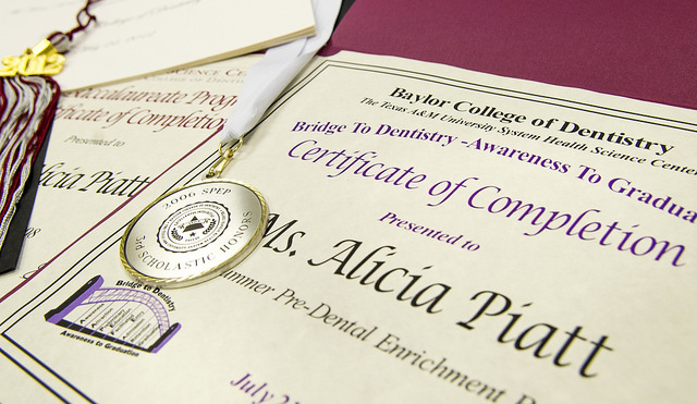 Completion certificates, medals and awards such as these are some of the mementos from Dr. Alicia Spence's time in SPEP and the post-bac program.