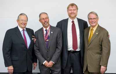 L to R: Robert Bigham; Dean Lawrence Wolinsky; Dr. Thomas Diekwisch; and Dr. Frank Eggleston.
