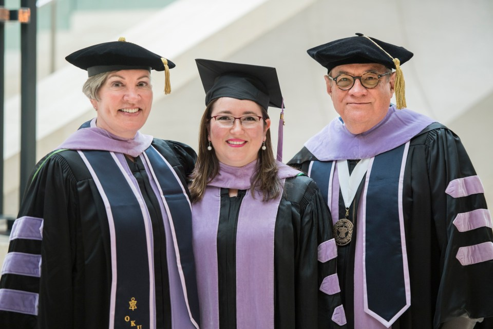 Dr. Regina Casian, the first graduate of the college's oral and maxillofacial radiology residency, with Dr. Diane Flint, associate professor and residency program director, and Dr. Byron Benson, Regents professor in diagnostic sciences and imaging center director