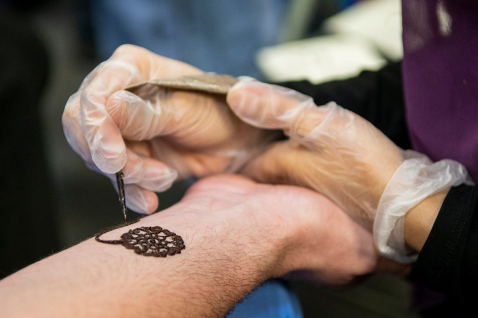 One of the many henna tattoos created by D2 Fasiha Jafri during Culture Fest