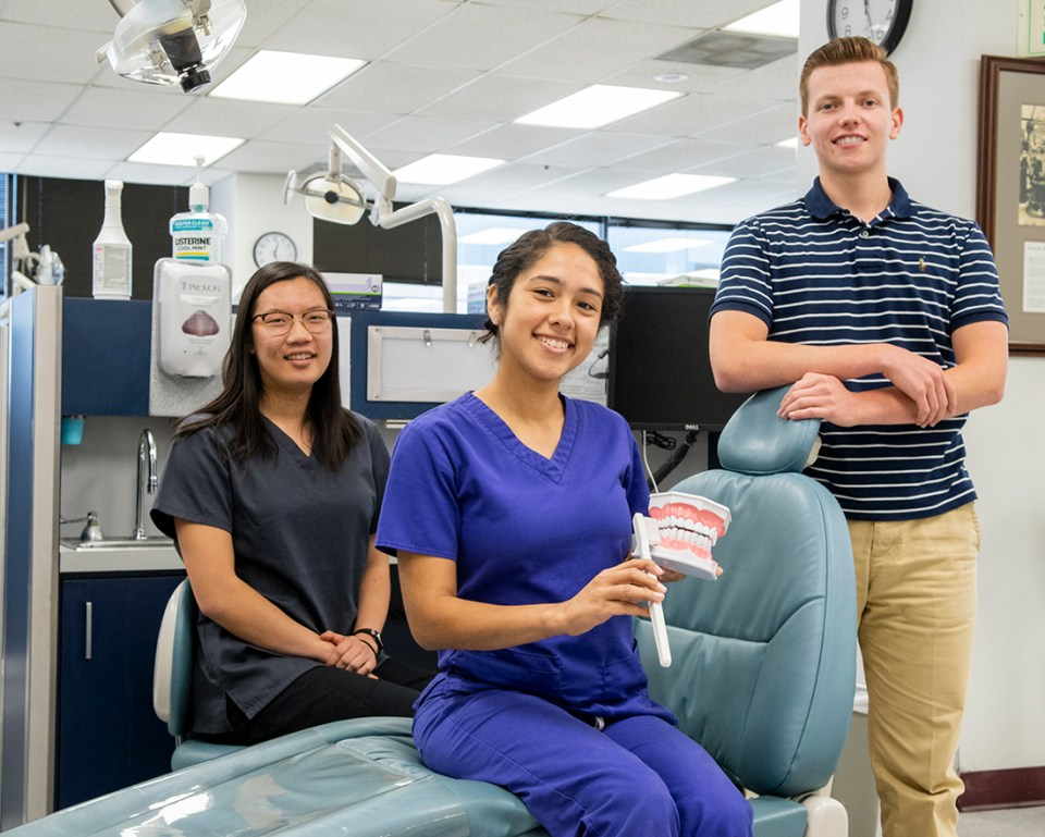 From left: HOSA-Future Health Professionals dental science competitors Joyce Wei, who placed third in the postsecondary/collegeiate division; Clarissa Guare; and Noah Jones.