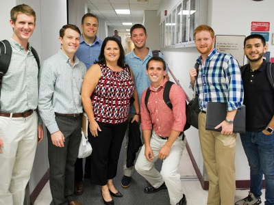 Laurie Inglis with new dental students during orientation week in 2016.