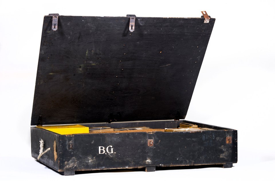 Shipping trunks filled with histologic specimens and certificates are among the college's collection of Dr. Bernhard Gottlieb's memorabilia.