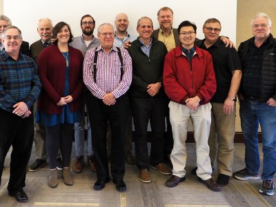 Back row, left to right: Mike Polcyn, Southern Methodist University; Dr. Bill Stenberg, Texas A&M College of Dentistry; Dr. Lucas Delezene, University of Arkansas; Dr. Matt Kesterke, A&M; Dr. Thomas Diekwisch, A&M; Dr. Paul Dechow, A&M; and Dr. Louis Jacobs, SMU. Front row left to right: Dr. Emet Schneiderman, A&M; Dr. Claire Terhune, Arkansas; Dr. Jerry Rose, Arkansas; Dr. Peter Ungar, Arkansas; and Dr. Qian Wang, A&M.