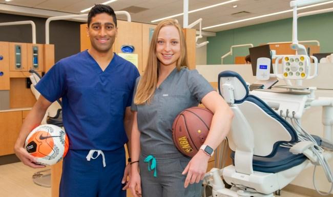 Dental students Ram Deole and Julie Langenbahn