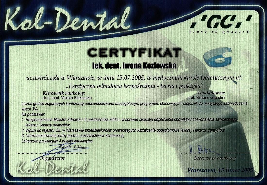 dentysta warszawa DENTYSTA WARSZAWA – DENTOKLINIKA Dentysta warszawa Iwona Kozlowska Certyfikat14