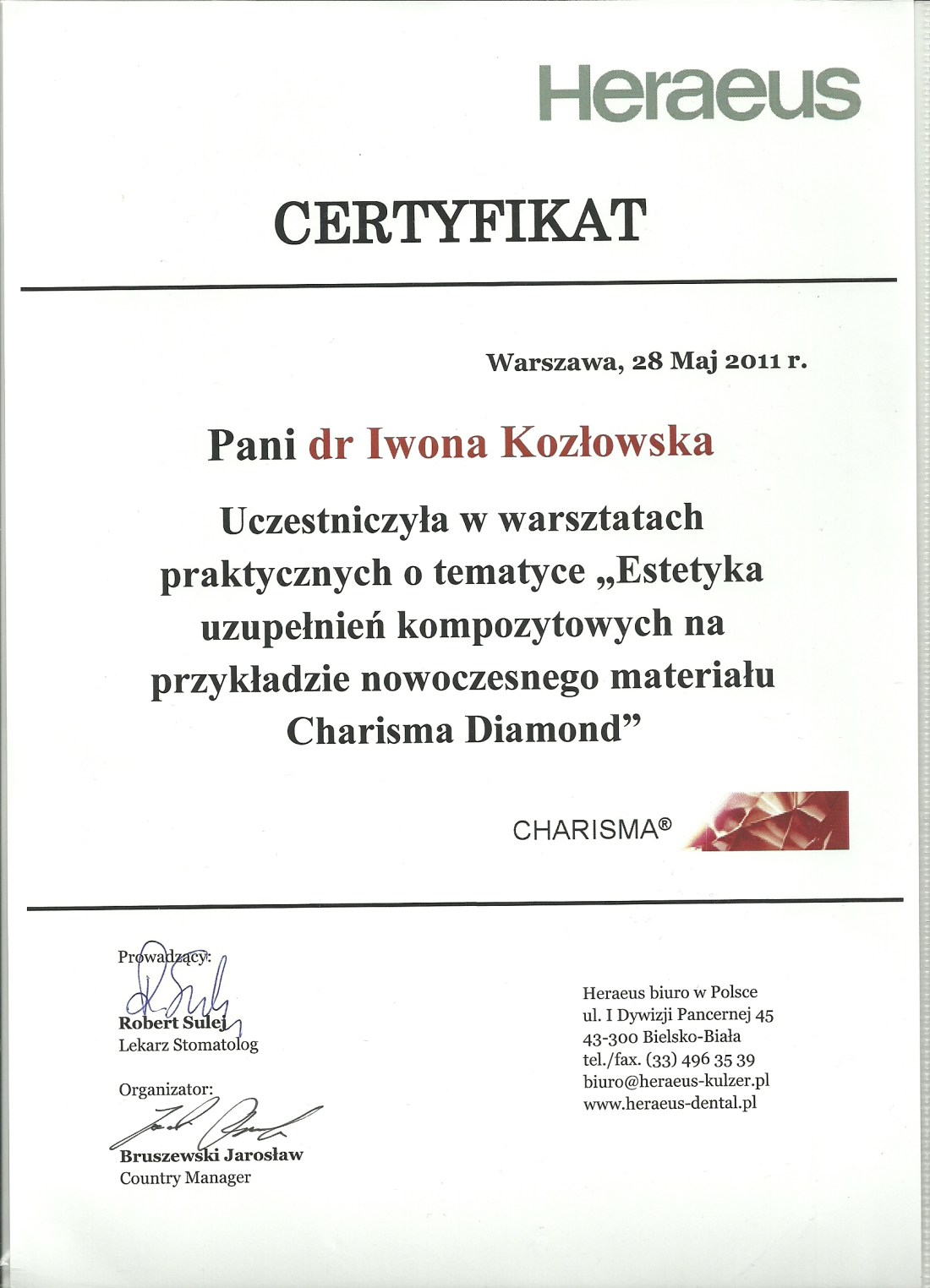 dentysta warszawa DENTYSTA WARSZAWA – DENTOKLINIKA Dentysta warszawa Iwona Kozlowska Certyfikat19