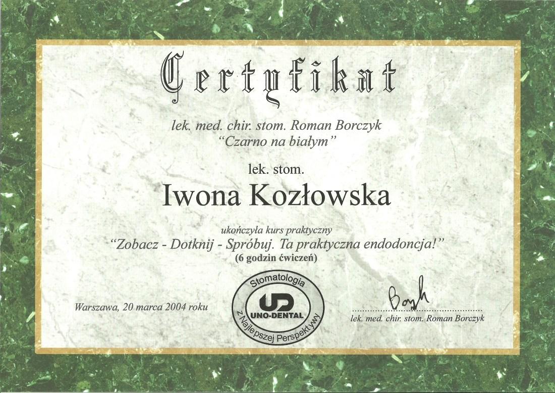 dentysta warszawa DENTYSTA WARSZAWA – DENTOKLINIKA Dentysta warszawa Iwona Kozlowska Certyfikat5