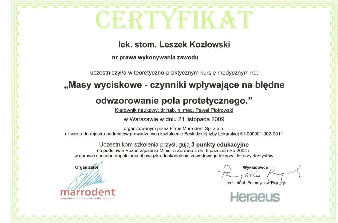 dentysta warszawa DENTYSTA WARSZAWA – DENTOKLINIKA Dentysta warszawa Leszek Kozlowski Certyfikat