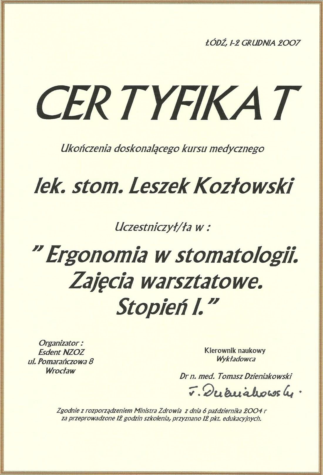 dentysta warszawa DENTYSTA WARSZAWA – DENTOKLINIKA Dentysta warszawa Leszek Kozlowski Certyfikat 1