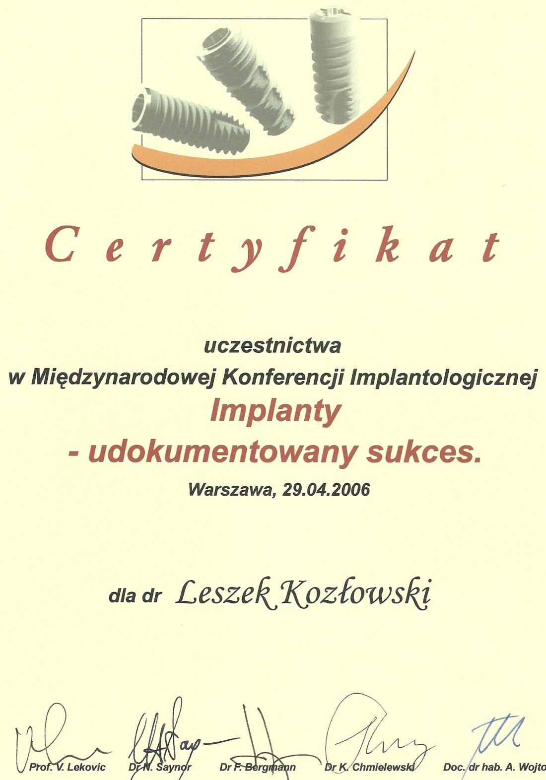 dentysta warszawa DENTYSTA WARSZAWA – DENTOKLINIKA Dentysta warszawa Leszek Kozlowski Certyfikat 12