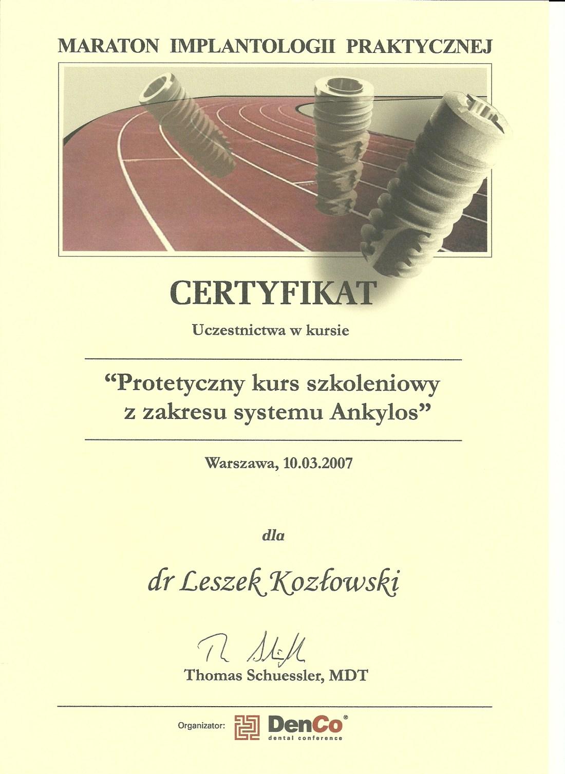 dentysta warszawa DENTYSTA WARSZAWA – DENTOKLINIKA Dentysta warszawa Leszek Kozlowski Certyfikat 14