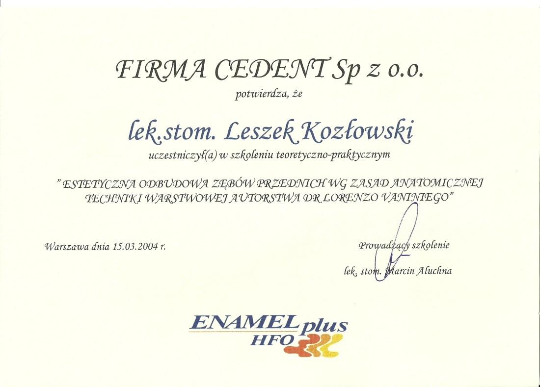 dentysta warszawa DENTYSTA WARSZAWA – DENTOKLINIKA Dentysta warszawa Leszek Kozlowski Certyfikat 16