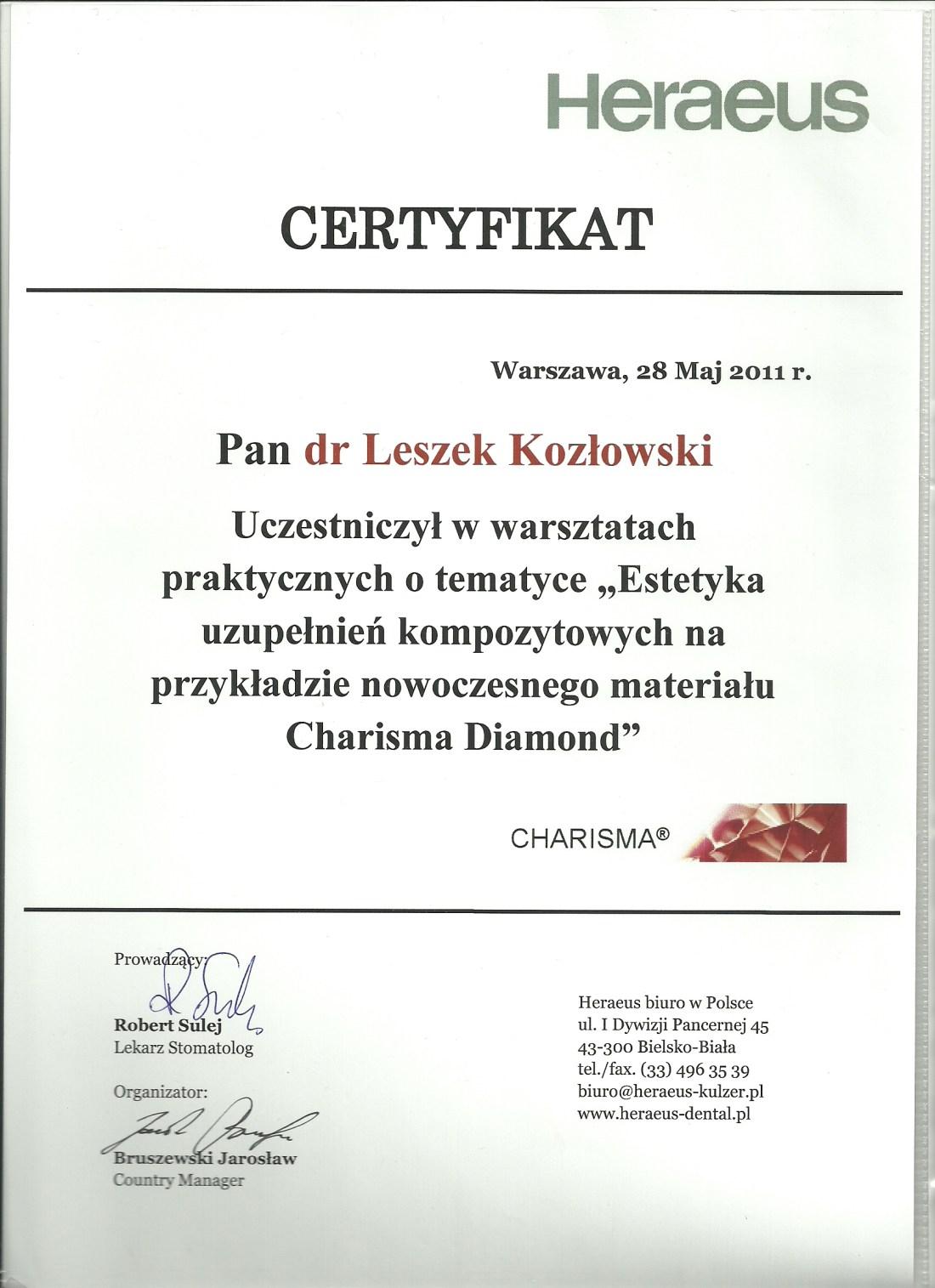 dentysta warszawa DENTYSTA WARSZAWA – DENTOKLINIKA Dentysta warszawa Leszek Kozlowski Certyfikat 23