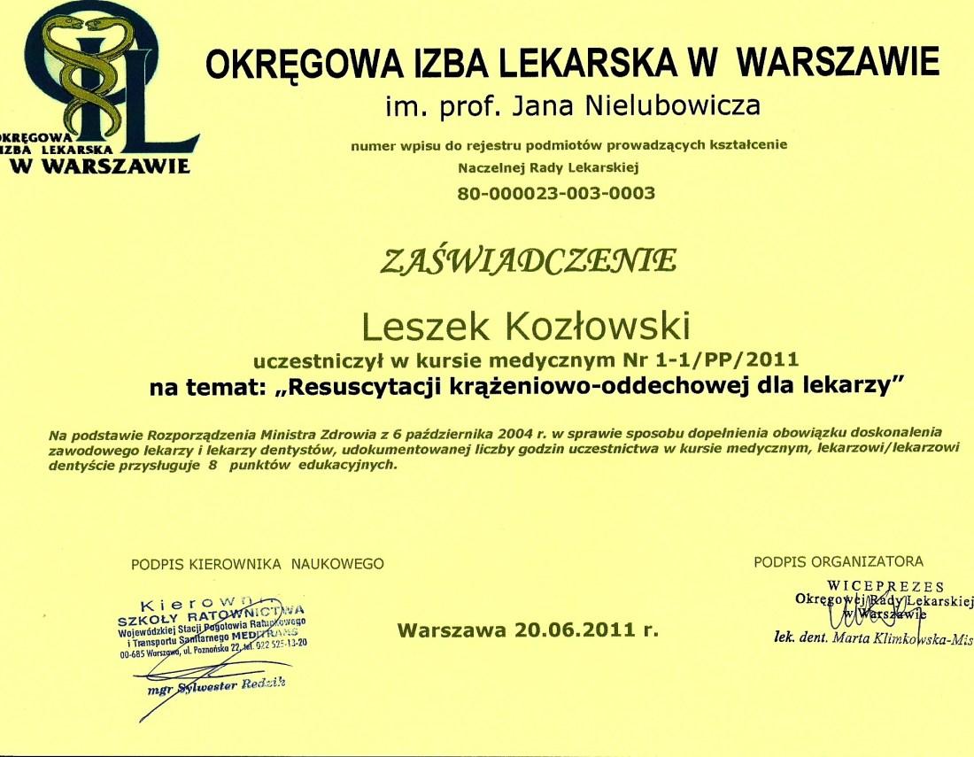 dentysta warszawa DENTYSTA WARSZAWA – DENTOKLINIKA Dentysta warszawa Leszek Kozlowski Certyfikat 24