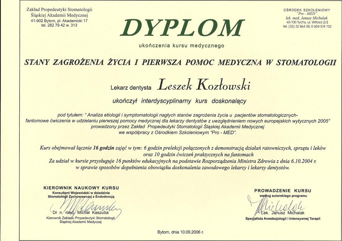 dentysta warszawa DENTYSTA WARSZAWA – DENTOKLINIKA Dentysta warszawa Leszek Kozlowski Dyplom